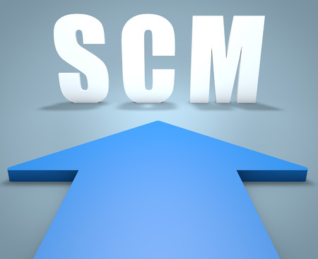 scm: SCM - Supply Chain Management - 3d render concept of blue arrow pointing to text.