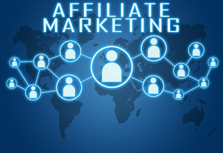 affiliates: Affiliate Marketing concept on blue background with world map and social icons. Stock Photo