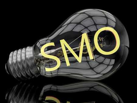 smo: SMO - Social Media Optimization - lightbulb on black background with text in it. 3d render illustration.