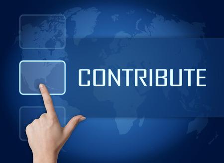 contribuire: Contribuire concetto con l'interfaccia e mappa del mondo su sfondo blu Archivio Fotografico