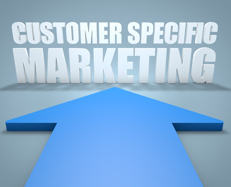 specific: Customer Specific Marketing - 3d render concept of blue arrow pointing to text.
