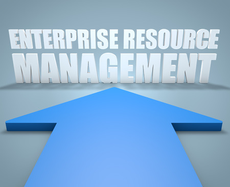 relationship: Enterprise Resource Management - 3d render concept of blue arrow pointing to text. Stock Photo
