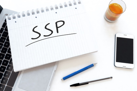 online bidding: SSP - Supply Side Platform - handwritten text in a notebook on a desk - 3d render illustration.