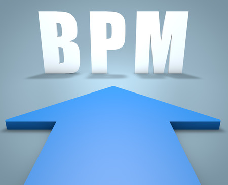 bpm: BPM - Business Process Management - 3d render concept of blue arrow pointing to text.