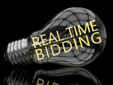 bidding: Real Time Bidding - lightbulb on black background with text in it. 3d render illustration. Stock Photo