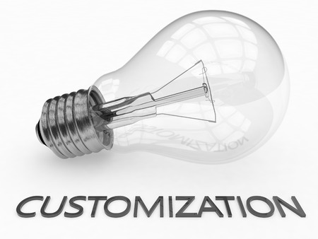 customization: Customization - lightbulb on white background with text under it. 3d render illustration.