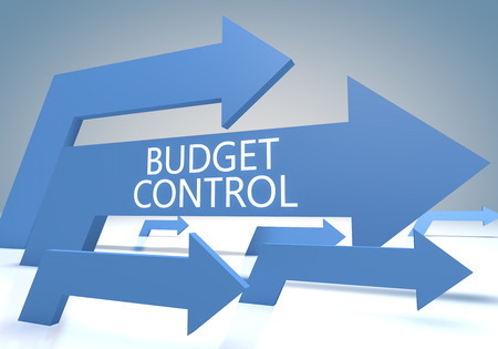 budgets: Budget Control render concept with blue arrows on a bluegrey background.