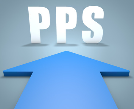 cpc: PPS - Pay per Sale - 3d render concept of blue arrow pointing to text. Stock Photo