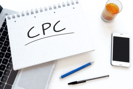 cpc: CPC - Cost per Click - handwritten text in a notebook on a desk - 3d render illustration. Stock Photo