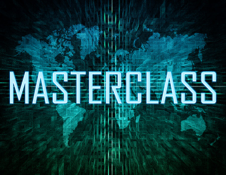 elearn: Masterclass text concept on green digital world map background Stock Photo