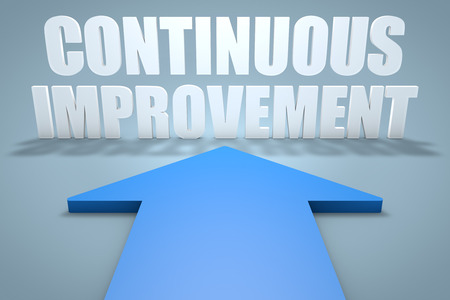 improvement: Continuous Improvement - 3d render concept of blue arrow pointing to text. Stock Photo