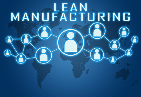 manufacturing: Lean Manufacturing concept on blue background with world map and social icons. Stock Photo