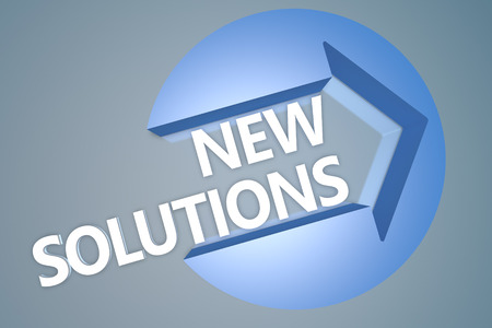 new solutions: New Solutions - text 3d render illustration concept with a arrow in a circle on blue-grey background