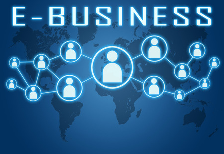 retailing: E-Business concept on blue background with world map and social icons. Stock Photo