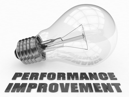 performance improvement: Performance Improvement - lightbulb on white background with text under it. 3d render illustration.