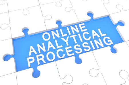 online analytical processing: Online Analytical Processing - puzzle 3d render illustration with word on blue background