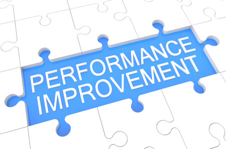 performance improvement: Performance Improvement - puzzle 3d render illustration with word on blue background