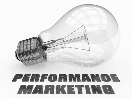 emarketing: Performance Marketing - lightbulb on white background with text under it. 3d render illustration.