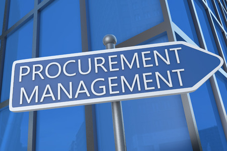 procure: Procurement Management - illustration with street sign in front of office building.
