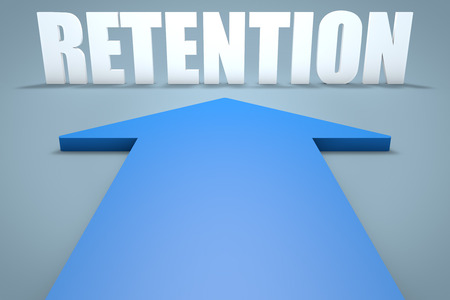retention: Retention - 3d render concept of blue arrow pointing to text. Stock Photo