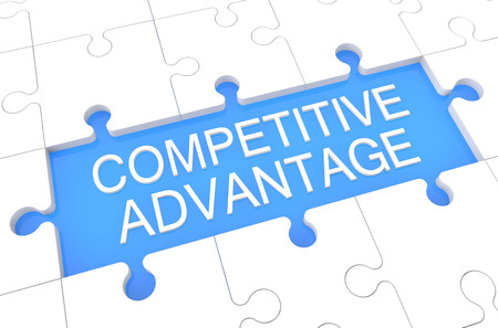 differentiation: Competitive Advantage - puzzle 3d render illustration with word on blue background Stock Photo