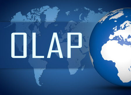 online analytical processing: OLAP - Online Analytical Processing concept with globe on blue world map background