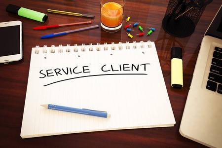 service desk: Service Client - handwritten text in a notebook on a desk - 3d render illustration.