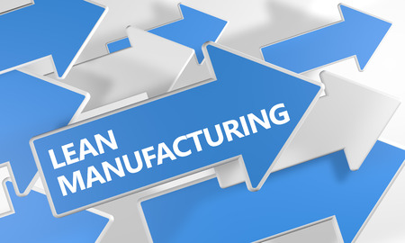 lean over: Lean Manufacturing - 3d render concept with blue and white arrows flying over a white background. Stock Photo