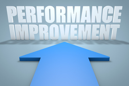 performance improvement: Performance Improvement - 3d render concept of blue arrow pointing to text.