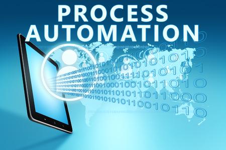青い背景でタブレット コンピューターとプロセス オートメーションの図