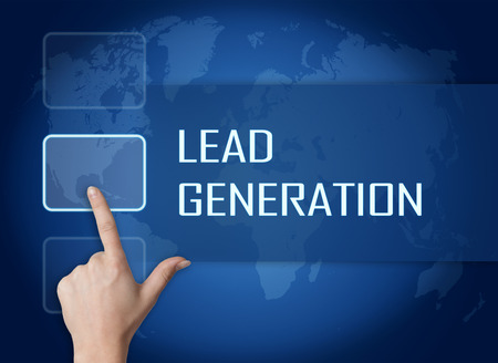 Lead Generation concept with interface and world map on blue background Stock Photo