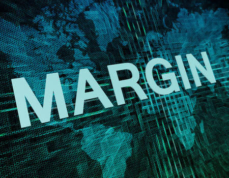 margin: Margin text concept on green digital world map background Stock Photo