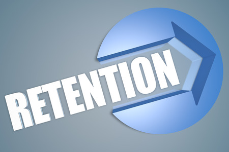 retention: Retention - text 3d render illustration concept with a arrow in a circle on blue-grey background Stock Photo