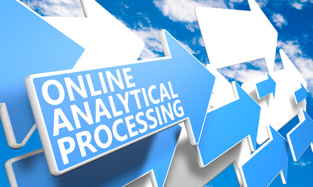 online analytical processing: Online Analytical Processing - 3d render concept with blue and white arrows flying in a blue sky with clouds
