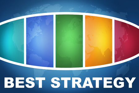 best guide: Best Strategy text illustration concept on blue background with colorful world map Stock Photo