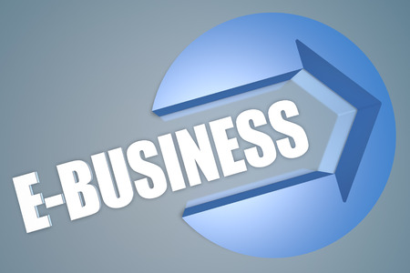 retailing: E-Business - text 3d render illustration concept with a arrow in a circle on blue-grey background Stock Photo