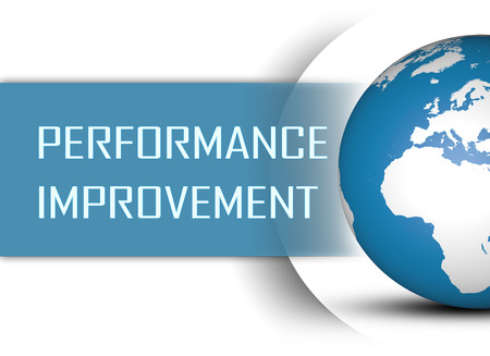 performance improvement: Performance Improvement concept with globe on white background Stock Photo