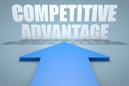 differentiation: Competitive Advantage - 3d render concept of blue arrow pointing to text. Stock Photo