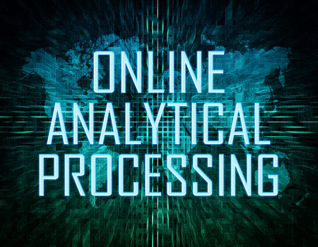 online analytical processing: Online Analytical Processing text concept on green digital world map background