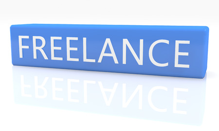 independent contractor: Freelance - 3d render blue box with text on it on white background with reflection