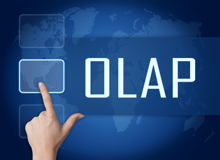 online analytical processing: OLAP - Online Analytical Processing concept with interface and world map on blue background Stock Photo