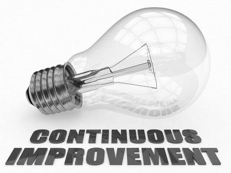 Continuous Improvement - lightbulb on white background with text under it. 3d render illustration.