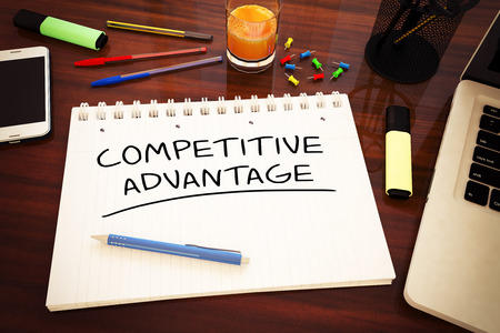 differentiation: Competitive Advantage - handwritten text in a notebook on a desk - 3d render illustration.