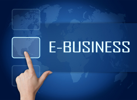 retailing: E-Business concept with interface and world map on blue background