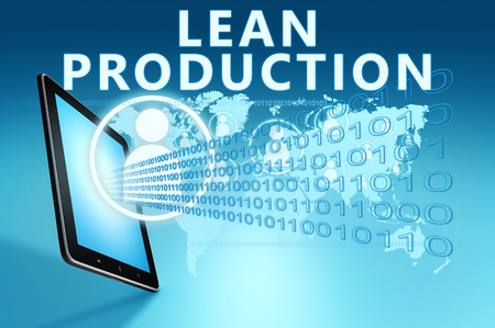 to lean: Lean Production illustration with tablet computer on blue background