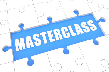 elearn: Masterclass - puzzle 3d render illustration with word on blue background Stock Photo