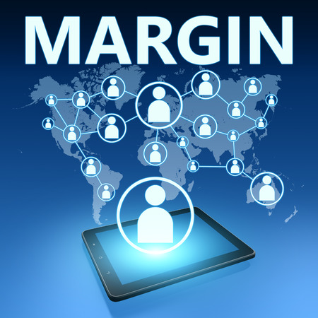 margins: Margin illustration with tablet computer on blue background Stock Photo