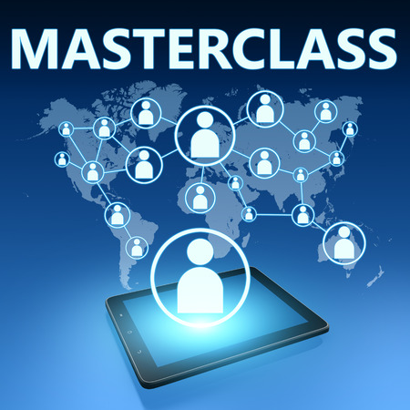 elearn: Masterclass illustration with tablet computer on blue background Stock Photo