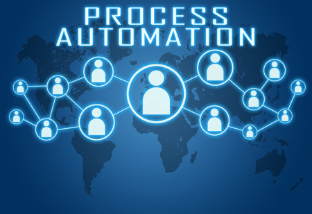 electronics industry: Process Automation concept on blue background with world map and social icons. Stock Photo