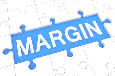 margin: Margen - rompecabezas 3d hacer ilustraci�n con la palabra sobre fondo azul